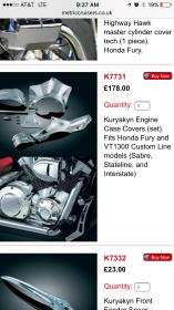 Kuryakyn Chrome Engine Cover Inserts for Honda Models 7708