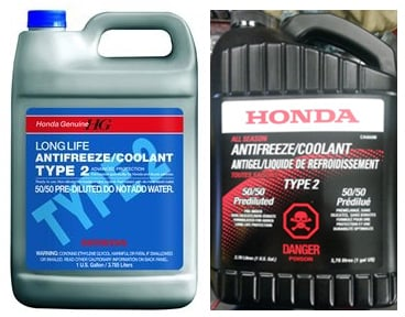 US vs CDN Coolant Canadian Type 2 long Life Prediluted (50/50) Coolant on right is used by both local motorcycle and car dealers