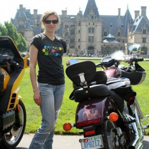 Wife and bike at Biltmore