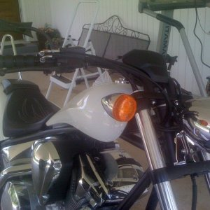 Black Iso grips and Arlen Ness 4 point mirrors