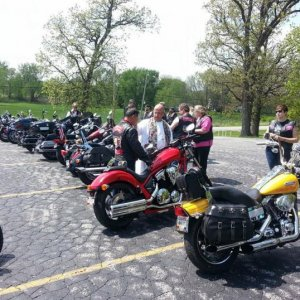 2014 Bike Blessing the RedRyder, a lone Fury amongst Harleys.