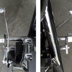 "Modified Toe Pegs for shifting and braking with boot still on the foot peg (extended 2½"" forward)"