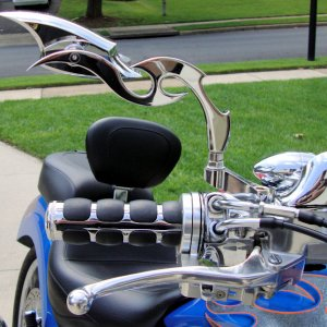 The new mirrors I put on the bike just prior to the 9/11 ride.