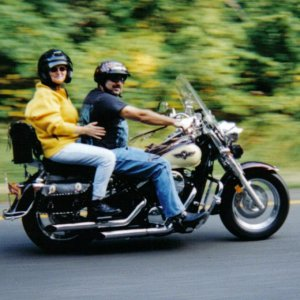 Me & the Mrs. on my Kawasaki Vulcan 800