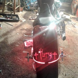 cut in fury logo glassed it in put lights in