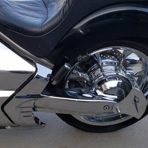 Rear wheel, swingarm and final drive chrome with custom VRay license plate side mount